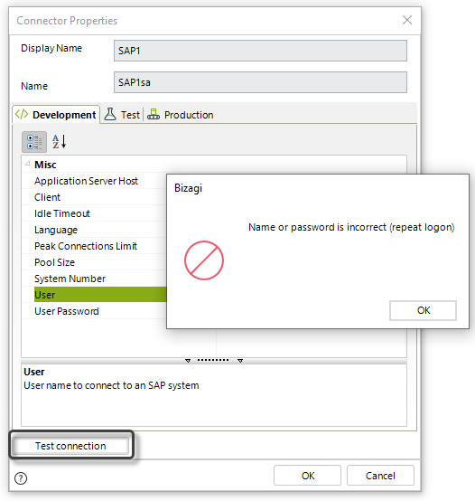 This image has an empty alt attribute; its file name is SAP_connectionButtonERROR_Studio.png